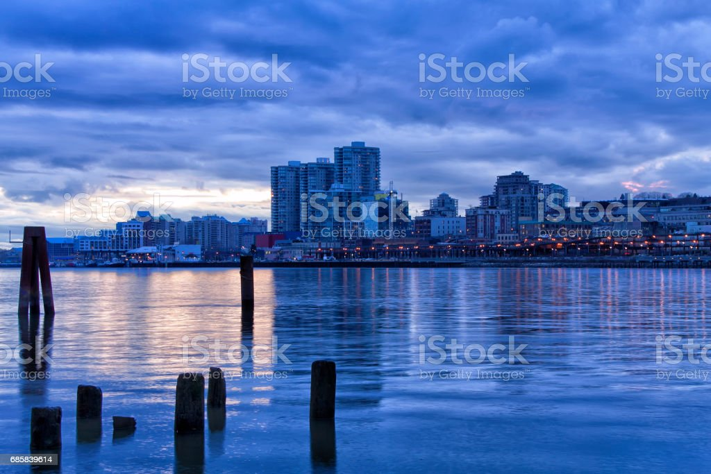 New Westminster Cityscape after sunset, BC, Canada stock photo