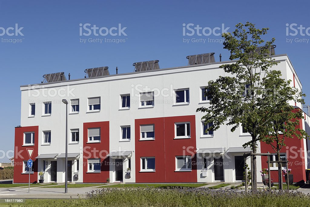 New white and red apartment house royalty-free stock photo