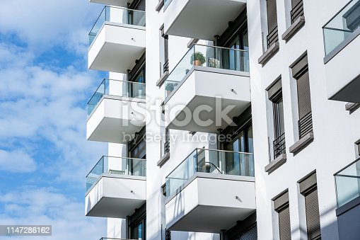 New white apartment house with balconies