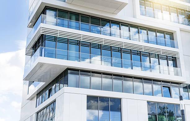 new white apartment houses in berlin, germany - fönsterrad bildbanksfoton och bilder