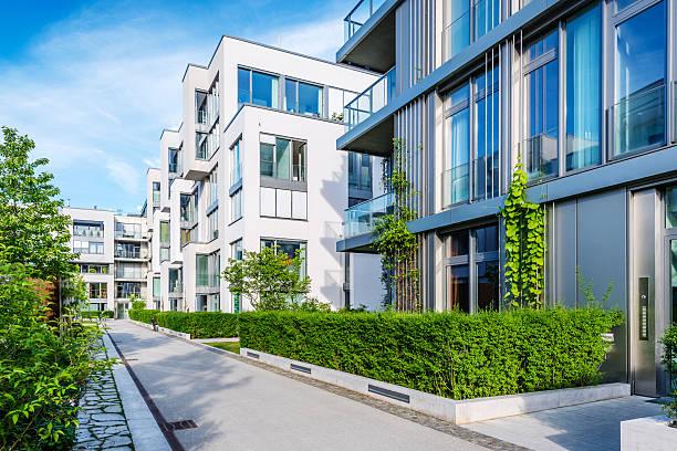 New white apartment houses stock photo