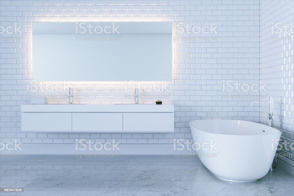 New White Bathroom With Big Ceramic Bathtub View 2 3d Render Stock ...