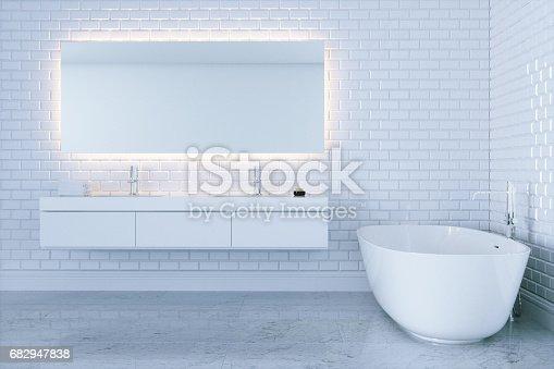 800987054istockphoto New white bathroom with big ceramic bathtub view 2 . 3d render 682947838