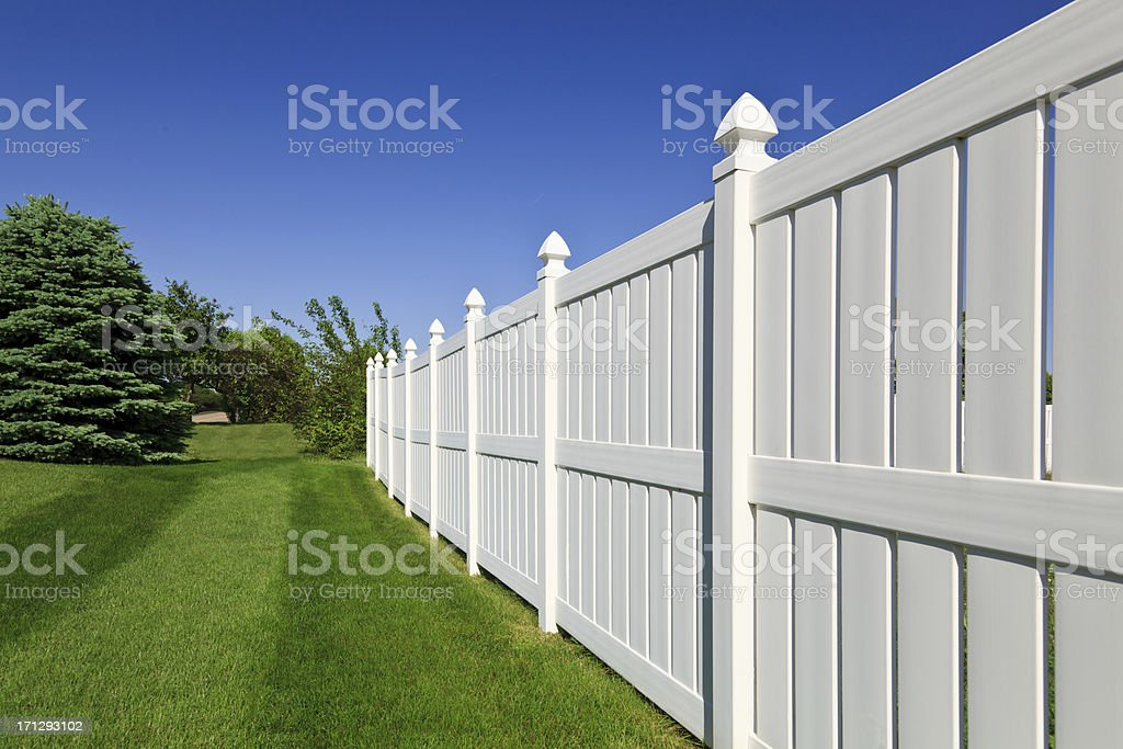 New white fence stock photo
