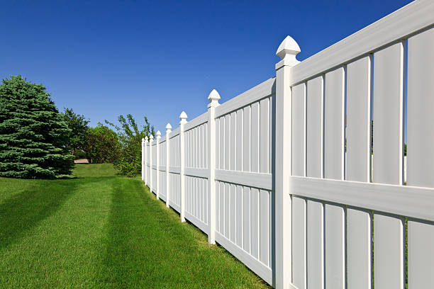 new white fence - fence stock photos and pictures