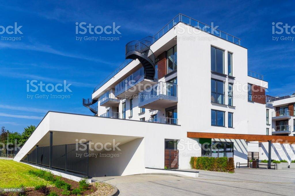 New white modern apartment building with underground garage, Gdansk,...