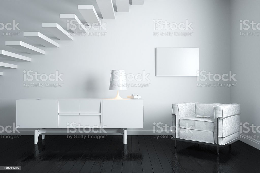 New White Room Interior With Minimalist Stairs stock photo