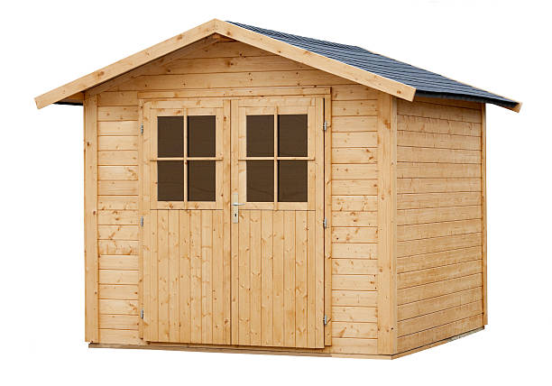 New Wood Garden Shed isolated on white stock photo