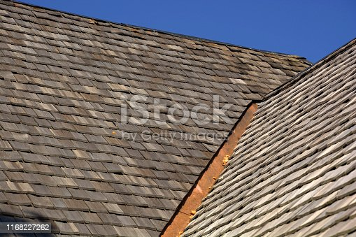 wood shingles on a roof top of an old hut in bavaria