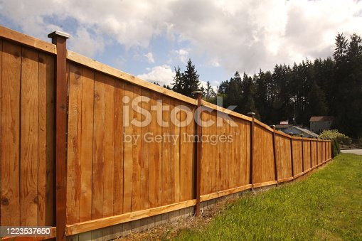 A new six feet tall wooden security fence