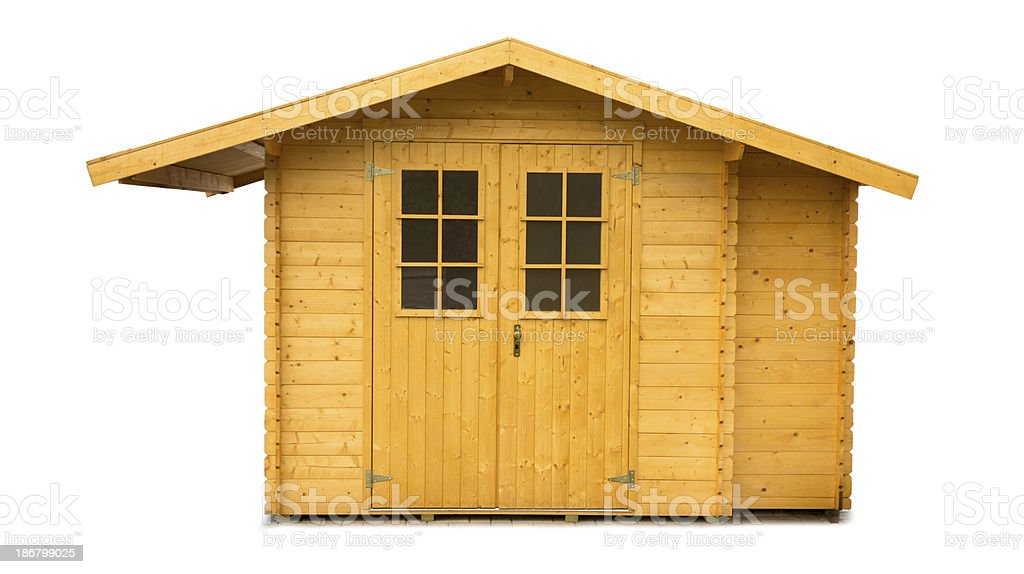 new Wooden Garden Shed isolated on white stock photo