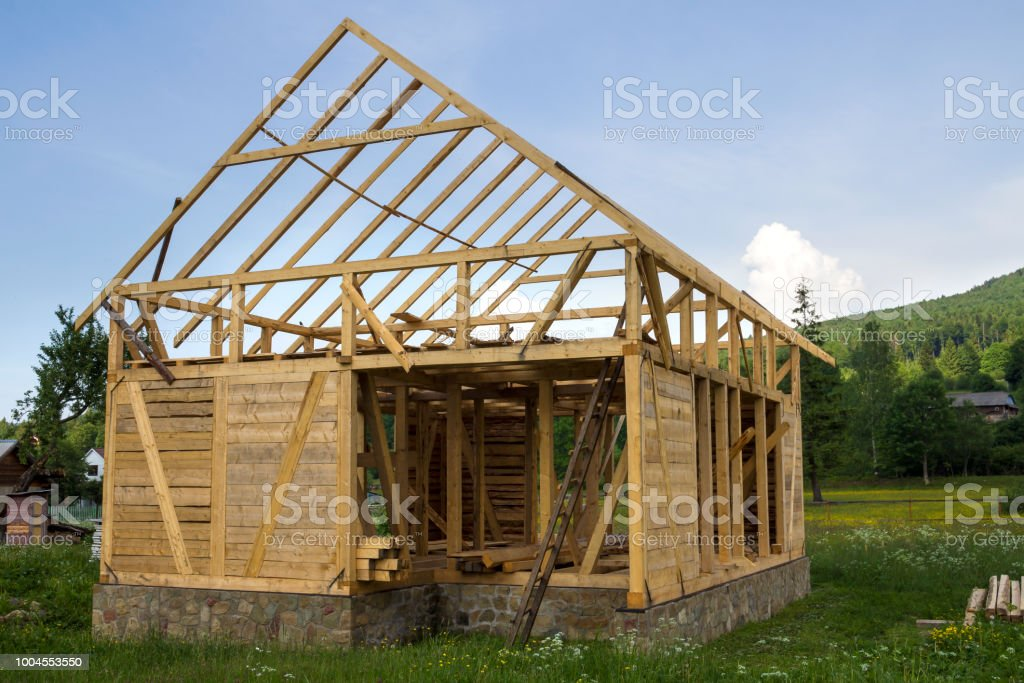 New Wooden House Under Construction In Quiet Rural Neighborhood - 100-wood-and-stone-house