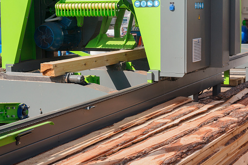 New Woodworking Machine At The Sawmill Industry Stock Photo - Download Image Now