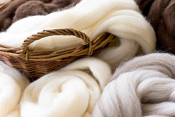 new  wool in natural colors - wool stock photos and pictures