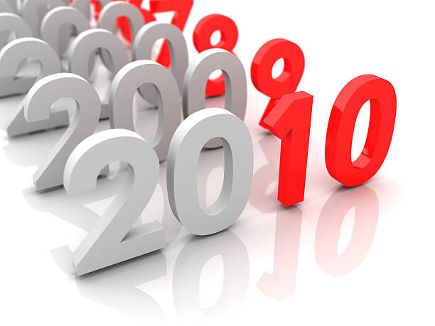 New year 2010 and old 2009,2008... stock photo