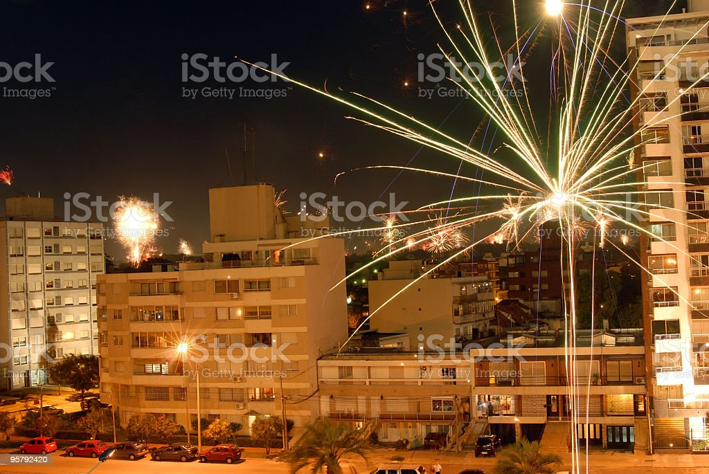 New year 2010 fireworks celebration over the city of  Montevideo royalty-free stock photo