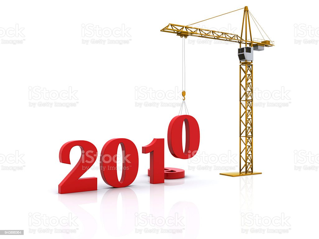 New Year 2010 with crane lowering numbers stock photo