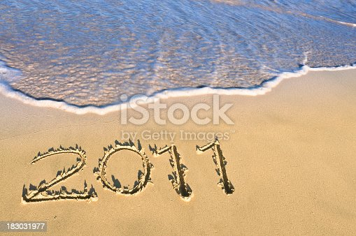 istock New Year 2011 sign at  a Tropical beach 183031977