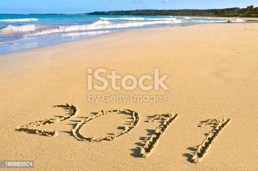 istock New Year 2011 sign at  a Tropical beach 186883524