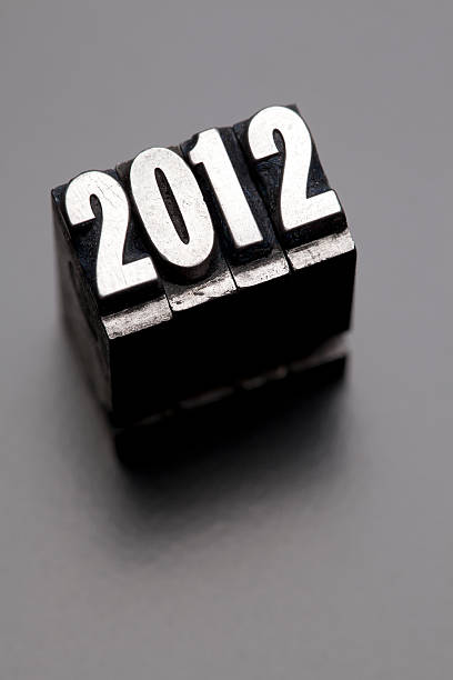 New year 2012 - Metal Letterpress Letters New year 2012 - Metal Letterpress Letters 2012 stock pictures, royalty-free photos & images