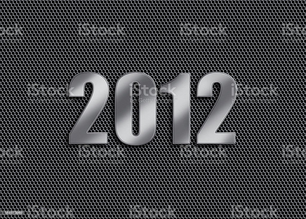 New Year - 2012 Metallic / silver colored numbers (2012 - new year) on honeycomb grill mesh background. 2012 Stock Photo