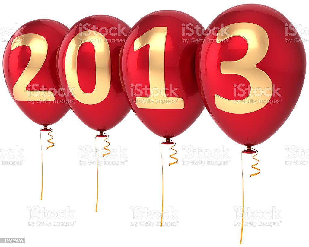 New Year 2013 balloons party decoration calendar countdown bauble royalty-free stock photo