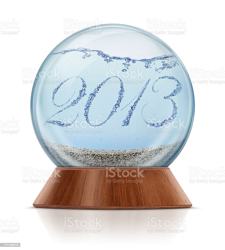 New Year 2013 - Bubbles in Snow Globe royalty-free stock photo