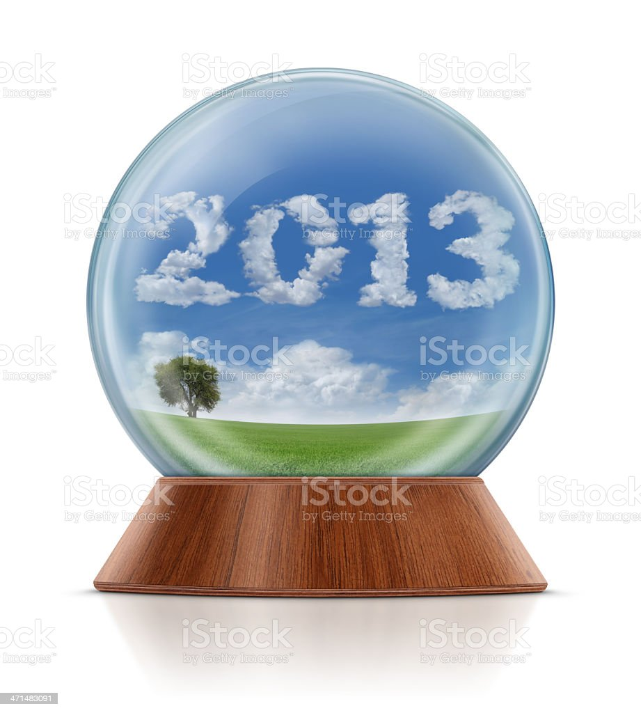 New Year 2013 - Field in Snow Globe royalty-free stock photo