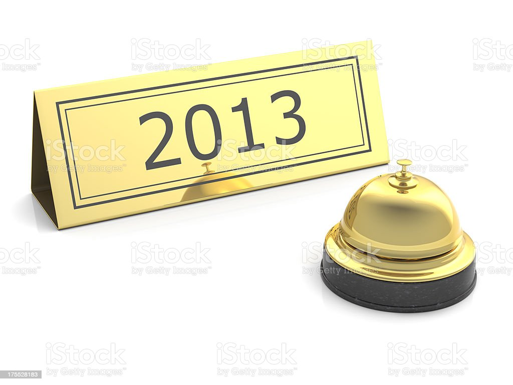 new year 2013 gold service bell on white royalty-free stock photo