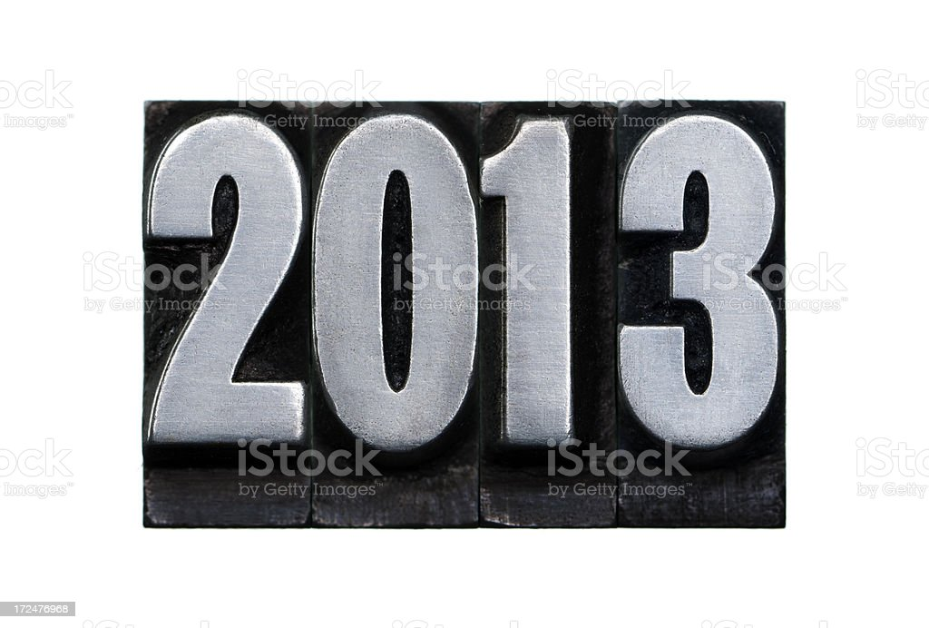 New Year 2013 - Letterpress letter royalty-free stock photo