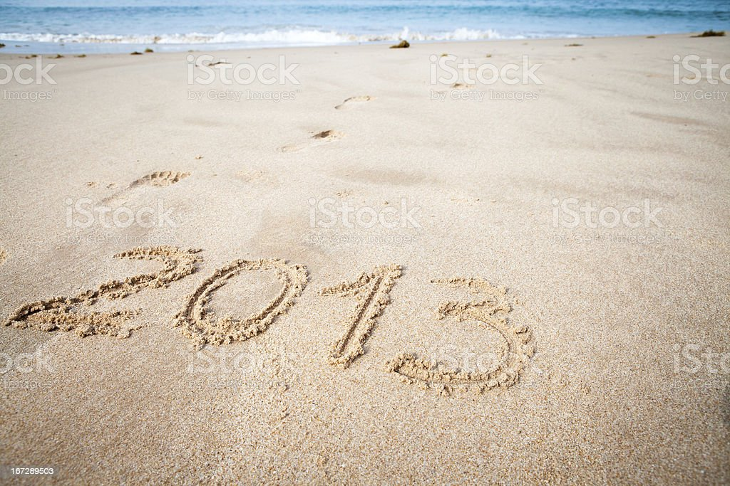 New Year 2013 message on beach royalty-free stock photo