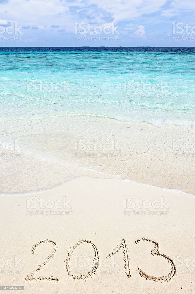 New Year 2013 message on beach stock photo