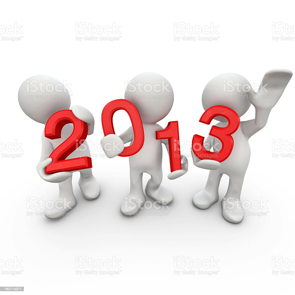 New year 2013 with 3D Human royalty-free stock photo