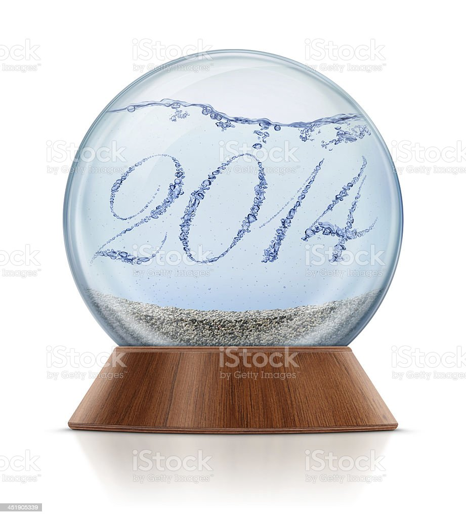 New Year 2014 - Bubbles in Snow Globe royalty-free stock photo