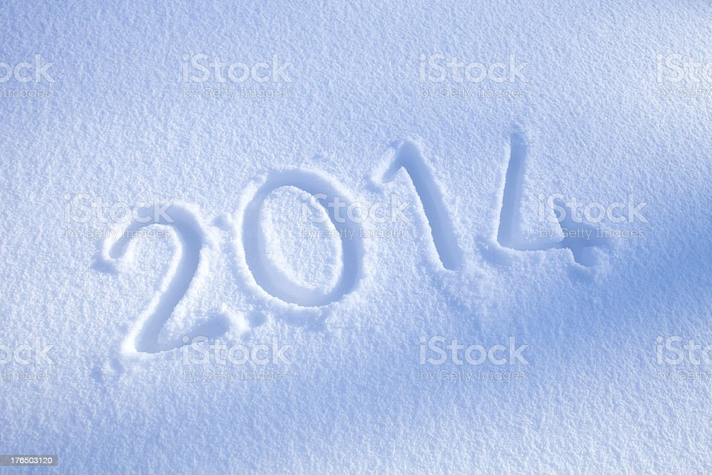 New year 2014 in the snow royalty-free stock photo