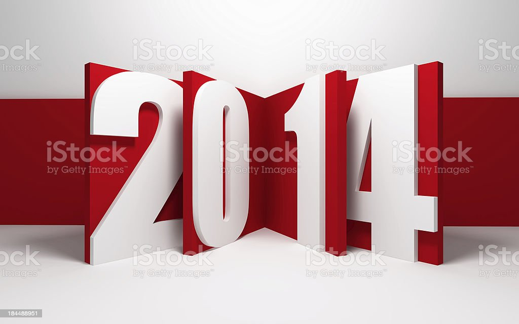 new year 2014 new year 2014, 3d render 2014 Stock Photo