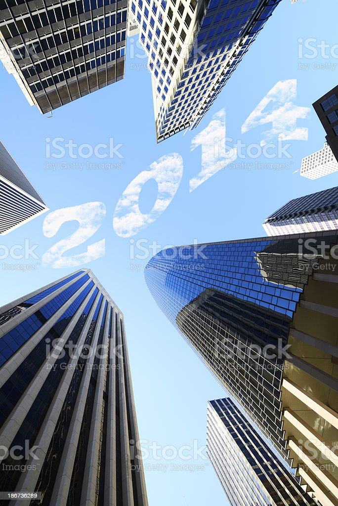 New Year 2014 San Francisco Skyscrapers royalty-free stock photo