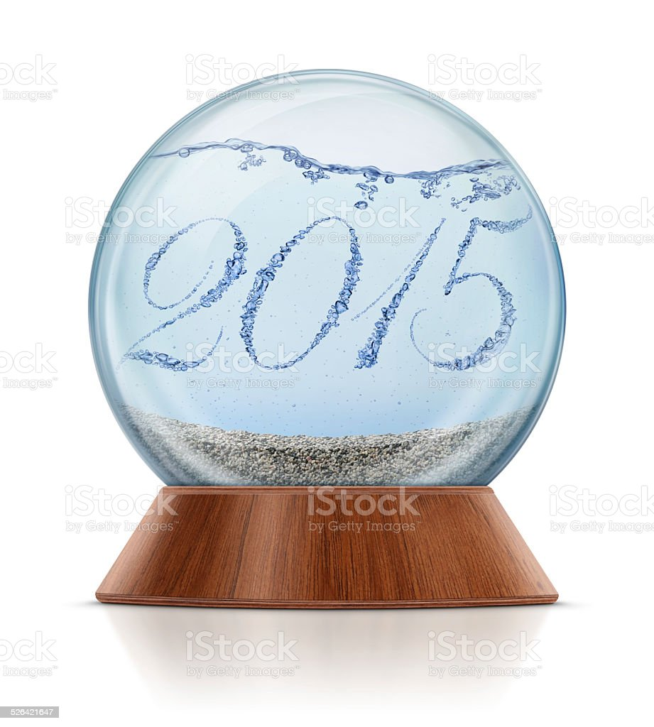 New Year 2015 - Bubbles in Snow Globe royalty-free stock photo