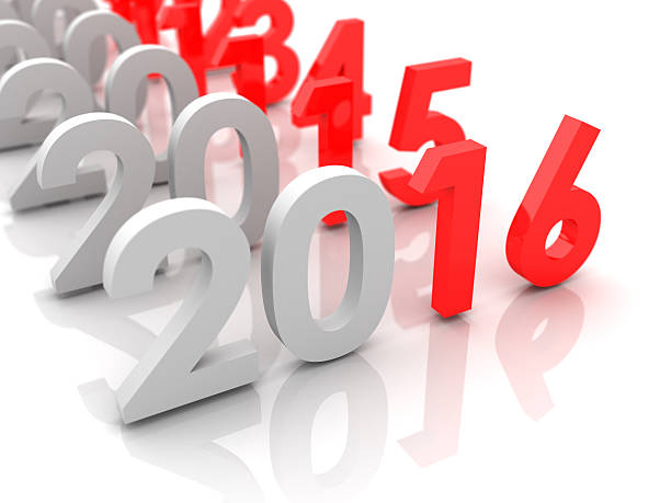 New year 2016 and old 2015, 2014... stock photo