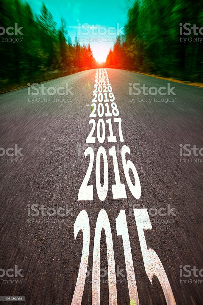 New year 2016 concept with ahead road stock photo