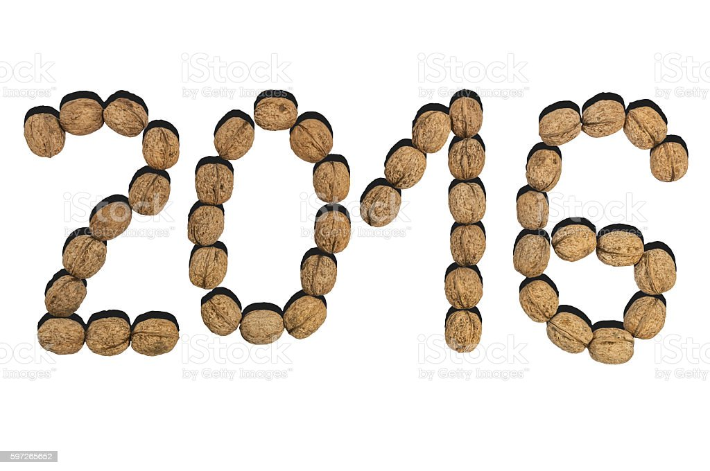 New year 2016 number made od dry walnut on white royalty-free stock photo