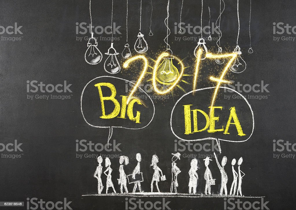 New Year 2017 and big idea concept stock photo