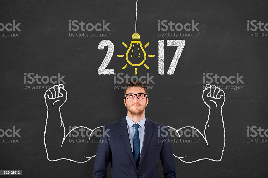 New Year 2017 Big Idea on Chalkboard Background stock photo