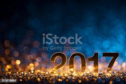 istock New Year 2017 - Christmas Decoration Gold Blue Party Celebration 613518894