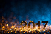 New Year 2017 - Christmas Decoration Gold Blue Party Celebration