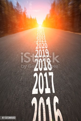 istock New year 2017 concept with ahead road 613208500