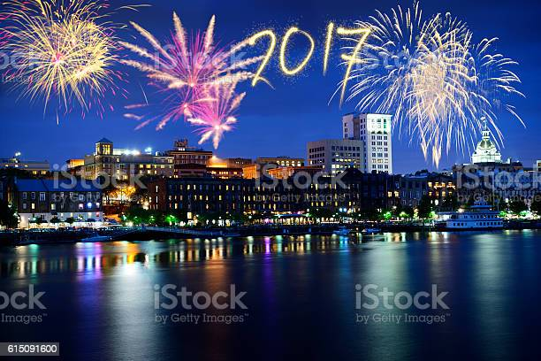 New Year 2017 fireworks over Savannah