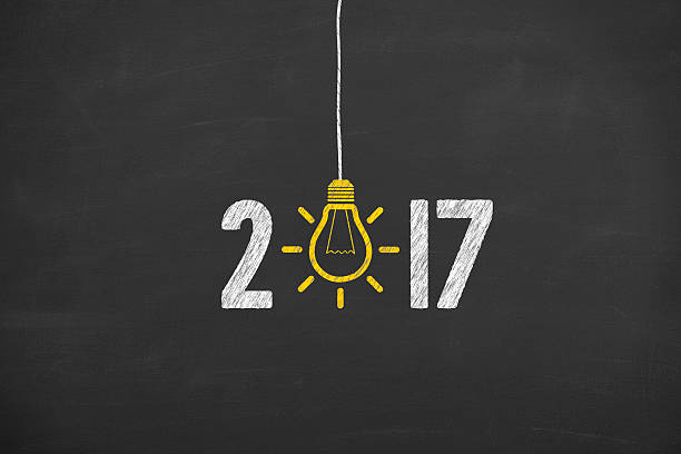 New Year 2017 Idea Concept on Chalkboard Background - Photo