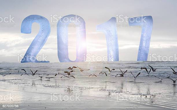 Photo of New Year 2017 numbers with ocean and birds