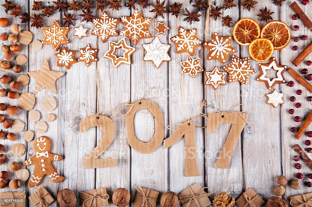 New Year 2017 on wooden background 스톡 사진